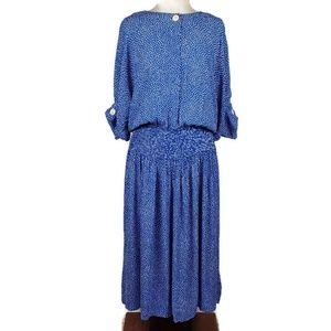Vintage 80's Maggie London Smocked Waist Dress, 4